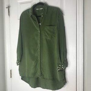 Zara Oversized Basic Button Down With Pearl Cuffs